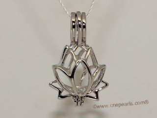 Swpm013 Wholesale 925Sterling Silver Lotus Flower Cage Pendant