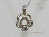 Swpm021 Small Size Sterling Silver Wish Pearl Cage Pendants in Flower Design