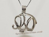 swpm024 925 Sterling Silver Elephant  Shape Cage Pendant