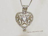 Swpm025 925 Sterling Silver Heart In Heart  Cage Pendant
