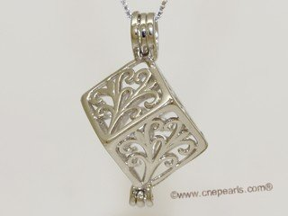 swpm026 925 Sterling Silver Flower Cube Shape Cage Pendant