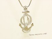 Swpm032 925 Sterling Silver Anchor Style Cage Pendant