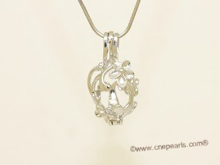 Swpm036 Wholesale  Sterling Silver Floral  Design Cage Pendant