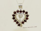 Swpm057 Wholesale  Red Gemstone Heart Shape Cage Pendant in Sterling Silver