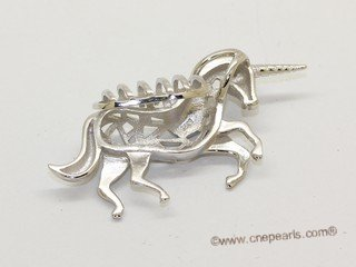 swpm071 925 Sterling Silver one horn horse Shape Cage Pendant
