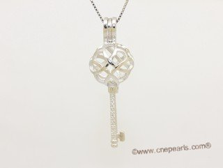 Swpm075 Sterling Silver Ball Key Wish Pearl Cage Pendant