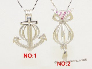 Swpm077 Sterling Silver Anchor/Fox Wish Pearl Cage Pendant