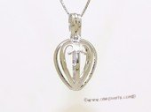 Swpm500 Large Size Heart Design Cage pendant in 925 Sterling Silver