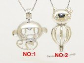 Swpm510 Sterling silver Monkey/Kitty Wish pearl pendants (cages) wholesale