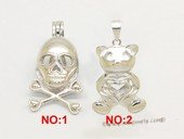 Swpm511 Sterling silver Skull/Pig Wish pearl pendants (cages) wholesale