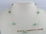 tcpn008 Handcrafted 16-inch sterling Tin Cup gem stone Necklace with 8mm chinese jade beads
