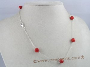 tcpn010 Handcrafted 16-inch sterling Tin Cup coral Necklace with 8mm red coral beads