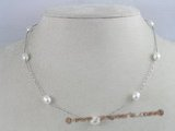 tcpn012 Tin Cup Pearl Necklace 16 Inch White rice shape freshwater Pearls