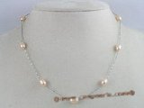 tcpn013 Tin Cup Pearl Necklace 16 Inch pink rice shape freshwater Pearls