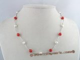 tcpn027 Sterling TIN-CUP necklace with potato pearl and coral beads