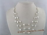 tcpn029 7*10mm keshi Cultured Pearl tin cup layer necklace