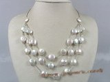 tcpn044 12mm white coin pearl layer tin-cup necklace