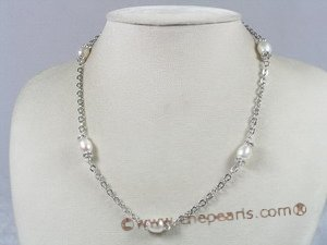 tcpn048 Silver 17 inch 8-9mm white rice shape pearl Tin cup necklace