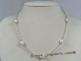 tcpn051 Sterling silver 8-9mm white rice shape pearl Tin cup necklace