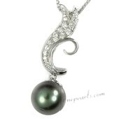 thpd006 10-11mm Black Tahitian round Pearl Wave Pendant in wholesale
