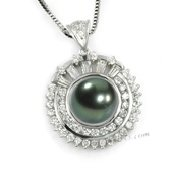 thpd009 Stunning 925silver Tahitian South Sea Pearl & CZ&#39s Passion Pendant