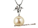 thpd014 12-13mm Nature Golden South Sea Pearl & Diamond 18K gold pendant