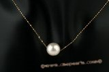 thpd015 Designer Style 10-11mm white south sea pearl& 14K gold chain necklace