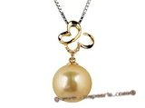 thpd017 18K yellow gold South Sea golden Pearl & Diamond pendant