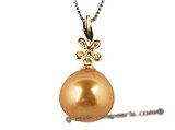 thpd019 12-13mm nature golden South Sea Pearl & Diamond pendant
