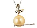 thpd021 15-16mm large Nature Golden south sea Pearl pendant in 18K gold