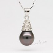 Thpd091 Fashion Semi-baroque Black Tahitian Pearl Pendant,11-12mm, A quality