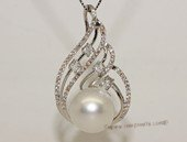 thpd122 Cubic Zircon 925 Sterling Silver Calabash Flower South Sea Pearl Pendant