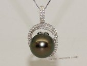 thpd124 Sterling Silver Cubic Zirconia Double Circle Pendant With Black Tahitian Pearl