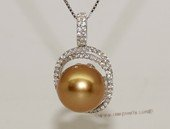 thpd125 Sterling Silver Cubic Zirconia Double Circle Pendant With South Sea  Pearl