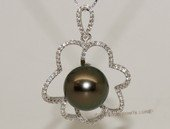 thpd126 Sterling Silver Tahitian Pearl Blossom Pendant Zircon Bead accent