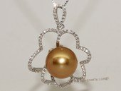 thpd127 Sterling Silver South Sea Pearl Blossom Pendant Zircon Bead accent