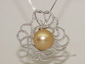 thpd129 Sparkling Zircon beads pave Nature Yellow South Sea Pearl Sterling Silver Pendant