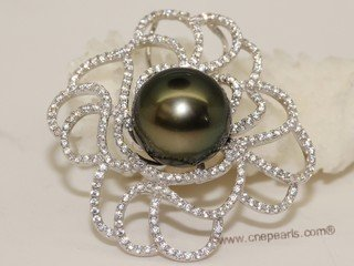 thpd131 Sparkling Zircon beads pave Black Tahitian Pearl Sterling Silver Pendant