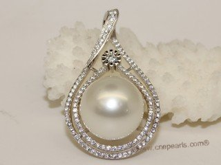 thpd132 Cubic Zircon 925 Sterling Silver Calabash Flower South Sea Pearl Pendant