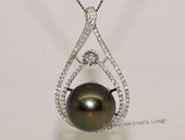 thpd136 Cubic Zircon 925 Sterling Silver Calabash Flower Black Tahitian  Pearl Pendant