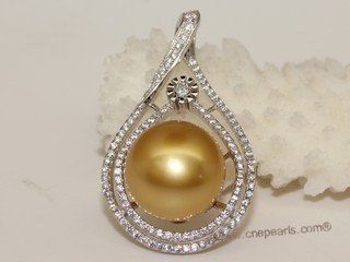 thpd137 Cubic Zircon 925 Sterling Silver Calabash Flower South Sea Pearl Pendant