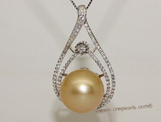 thpd138 Cubic Zircon 925 Sterling Silver Calabash Flower South Sea Pearl Pendant
