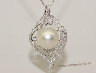 thpd139  Sterling Silver South Sea Pearl Blossom Pendant Zircon Bead accent