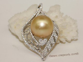 thpd140 Sterling Silver Yello South Sea Pearl Blossom Pendant Zircon Bead accent