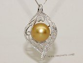thpd141 Sterling Silver Gold  South Sea Pearl Blossom Pendant Zircon Bead accent