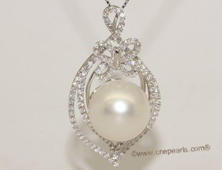 thpd143 Sparkling Zircon beads pave South Sea Pearl Sterling Silver Pendant