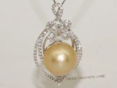thpd144 Sparkling Zircon beads pave Nature Yellow South Sea Pearl Sterling Silver Pendant