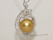 thpd145 Sparkling Zircon beads pave Gold South Sea Pearl Sterling Silver Pendant