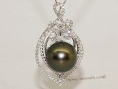 thpd146 Sparkling Zircon beads pave South Sea Pearl Sterling Silver Pendant