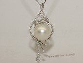 thpd147 Sterling Silver White South Sea Pearl Pendant Zircon Bead accent